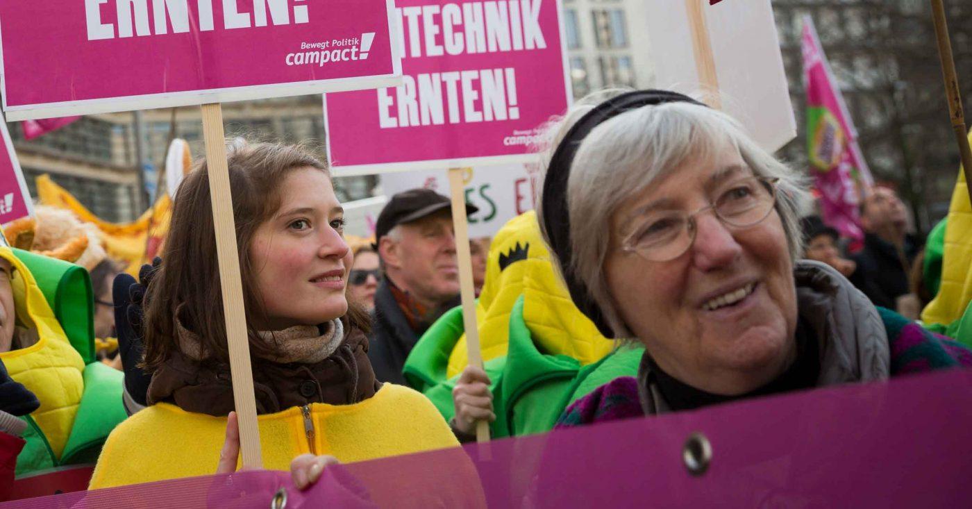 Aktion zur Landwirtschaftskonferenz in Dresden